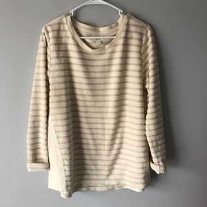 Per Se striped textured cream sweater XL A328